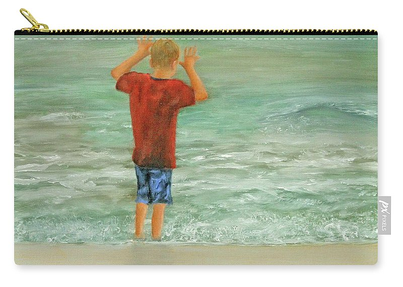Boy Carry-all Pouch featuring the painting Fearless by Robin Chaffin