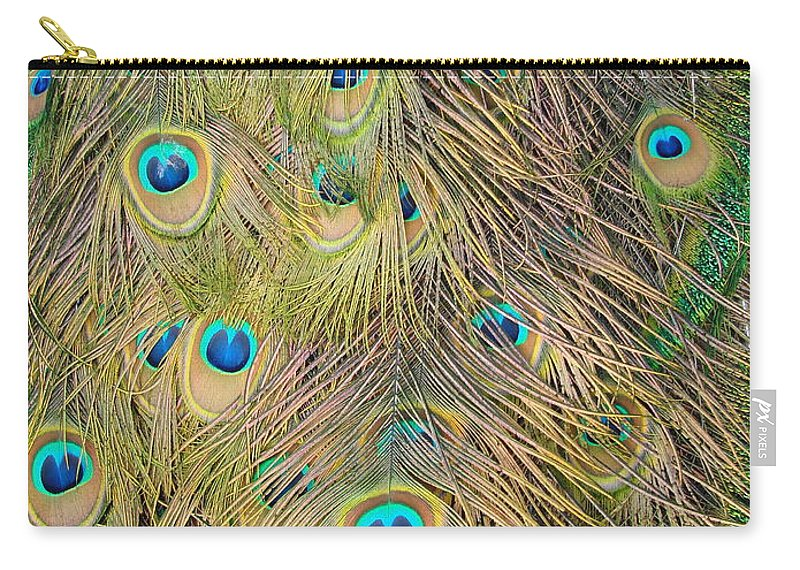 Peacock Carry-all Pouch featuring the photograph Feather Finesse by Margaret Bobb
