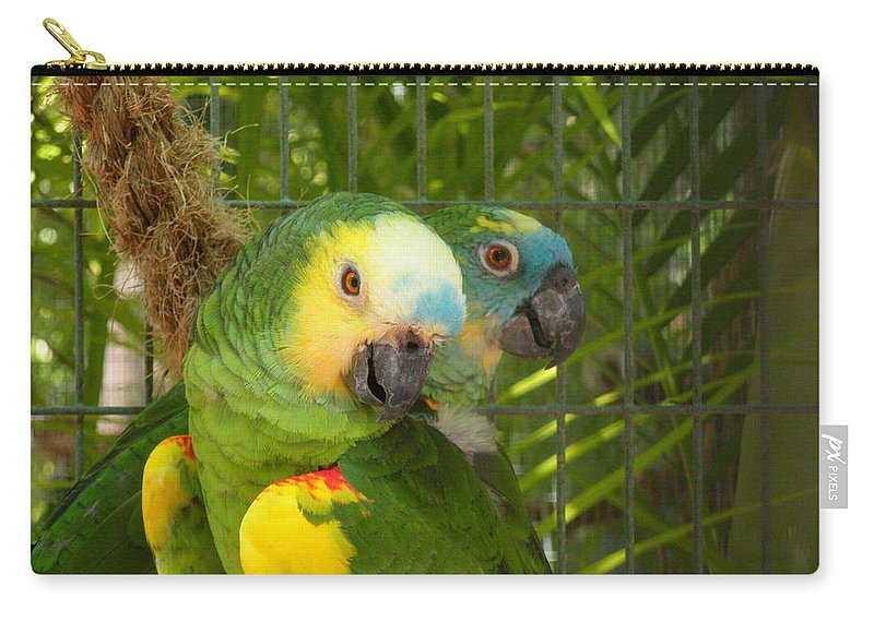 Birds Carry-all Pouch featuring the photograph Feathered Friends by Maria Bonnier-Perez