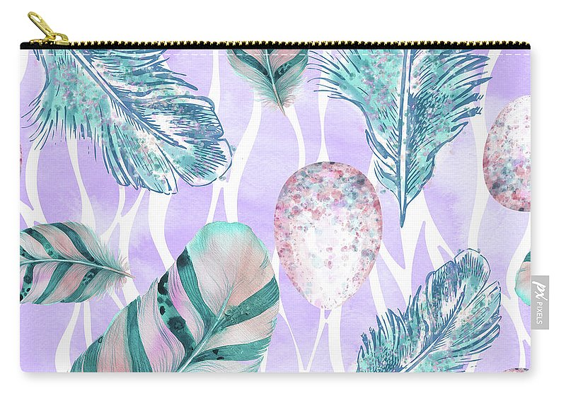 Feathers Carry-all Pouch featuring the painting Feathers And Spotted Bird Eggs Woodland Nature Pattern by Tina Lavoie