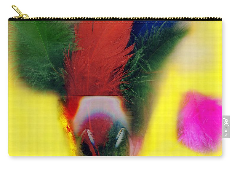 Feather Carry-all Pouch featuring the digital art Feathers In Wine Glass by Madeline Ellis