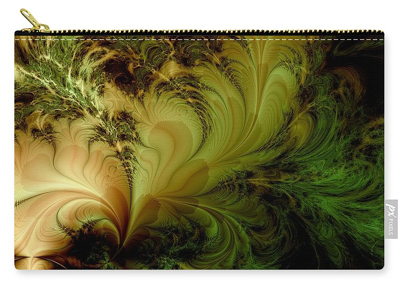Feather Carry-all Pouch featuring the digital art Feathery Fantasy by Casey Kotas