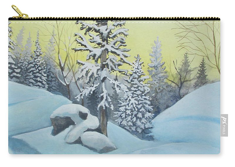 Winter Carry-all Pouch featuring the painting February Morning by Rick Huotari