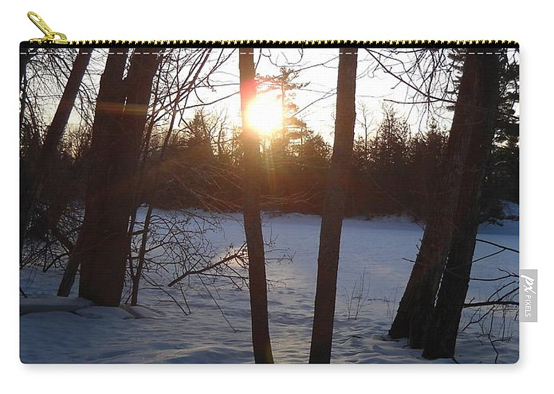 Sunrise Carry-all Pouch featuring the photograph February Sunrise Alongside A Tree by Kent Lorentzen