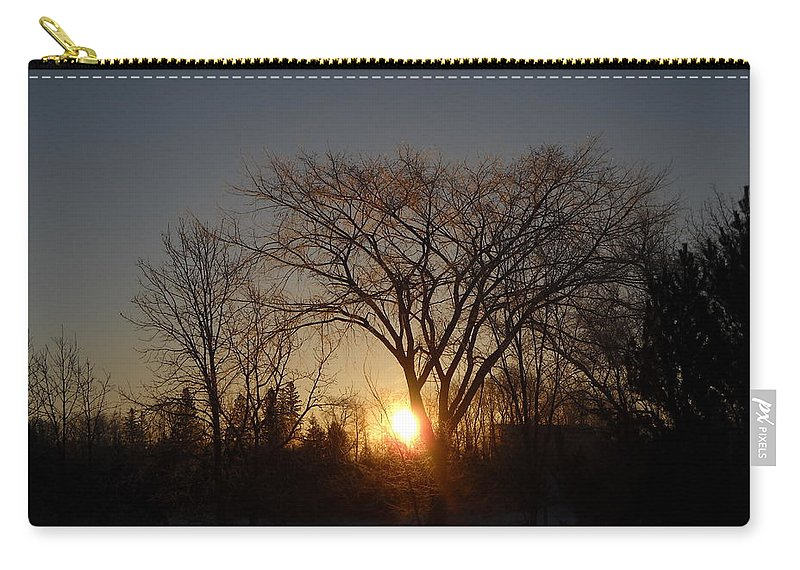 Sunrise Carry-all Pouch featuring the photograph February Sunrise Behind Elm Tree by Kent Lorentzen