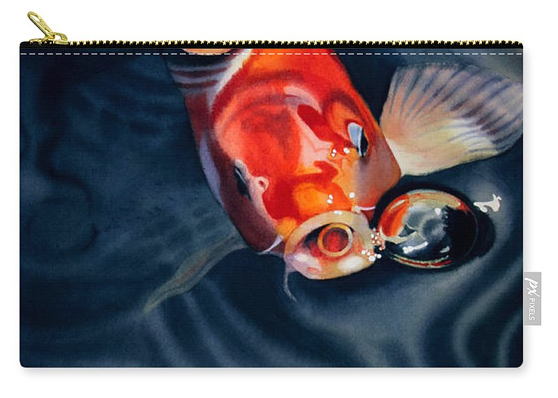 Koi Carry-all Pouch featuring the painting Feeding Frenzy by Denny Bond
