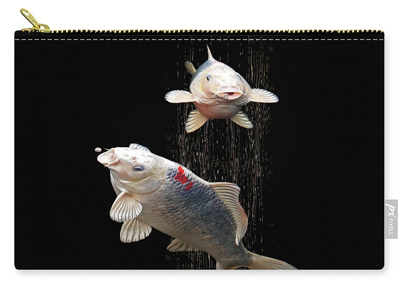 Fish Carry-all Pouch featuring the photograph Feeding The Koi by Gill Billington