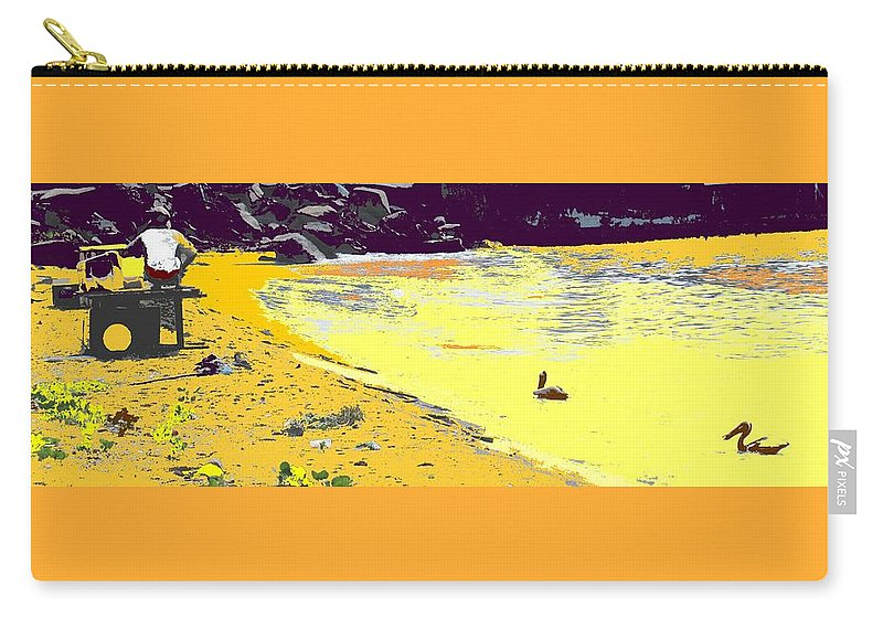 St Kitts Carry-all Pouch featuring the photograph Feeding The Pelicans by Ian MacDonald