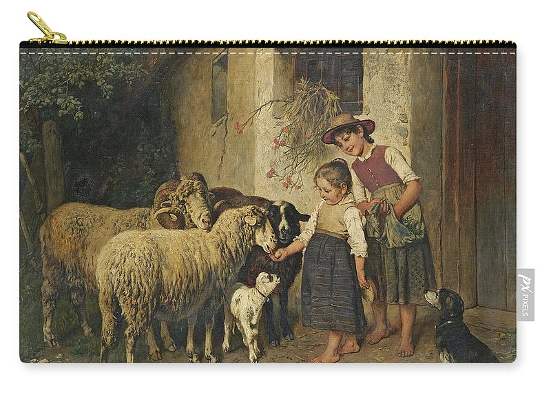Adolf Eberle Carry-all Pouch featuring the painting Feeding The Sheep by Adolf Eberle