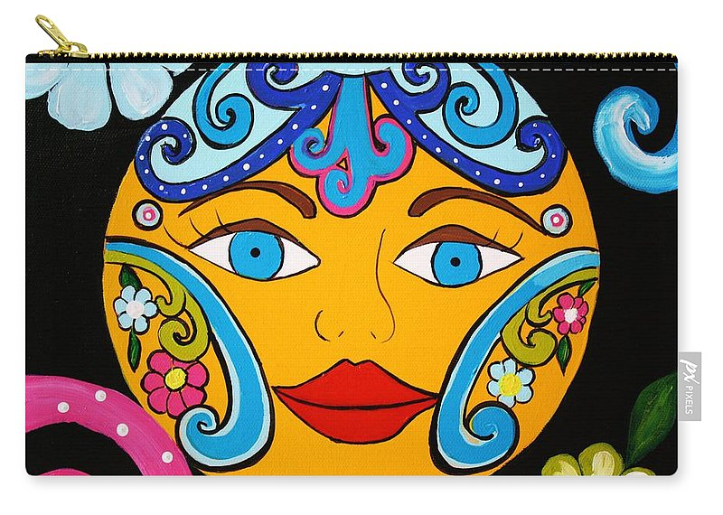 Talavera Sun Carry-all Pouch featuring the painting Feeling Groovy by Melinda Etzold