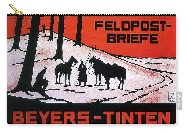 Feldpost Carry-all Pouch featuring the mixed media Feldpost-briefe - Beyers-tinten - Two Man With Horses - Retro Travel Poster - Vintage Poster by Studio Grafiikka