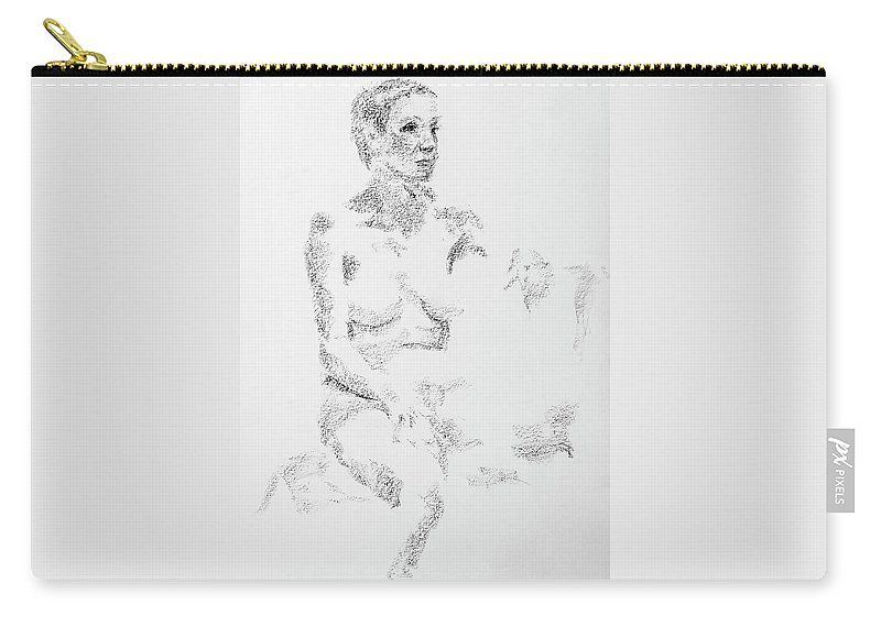 Female Carry-all Pouch featuring the drawing Female Figure 104 by WHITE Studio
