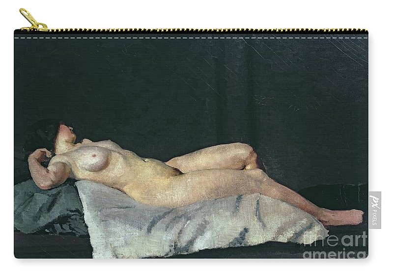 Female Figure Lying On Her Back Carry-all Pouch featuring the painting Female Figure Lying On Her Back by Dora Carrington