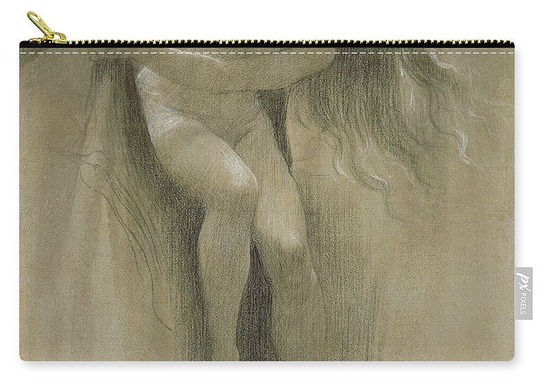 Female Nude Study (chalk On Paper) By John Robert Dicksee (1817-1903) Carry-all Pouch featuring the pastel Female Nude Study by John Robert Dicksee
