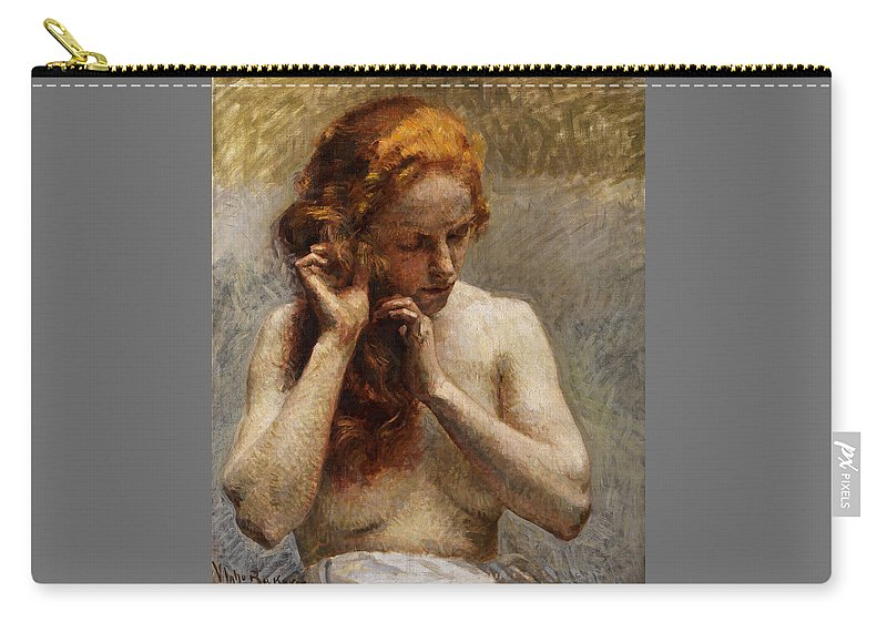 Vlaho Bukovac Carry-all Pouch featuring the painting Female Nude with Red Hair by Vlaho Bukovac