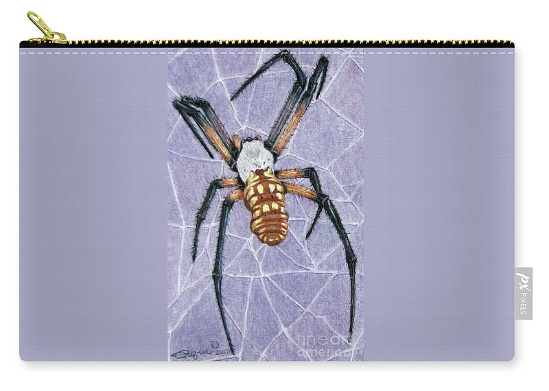 Fuqua - Artwork Carry-all Pouch featuring the drawing Female Orb Spider by Beverly Fuqua