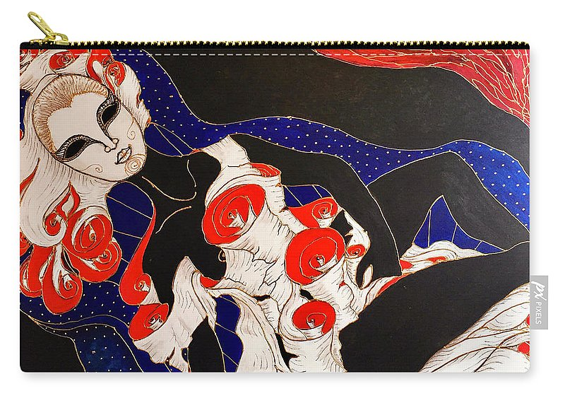 Original Painting Carry-all Pouch featuring the painting Feminine Mystique by Rae Chichilnitsky