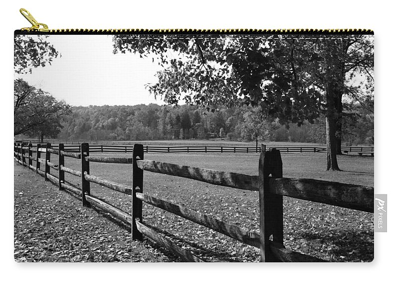Fence Carry-all Pouch featuring the photograph Fence Perspective by Kristin Elmquist