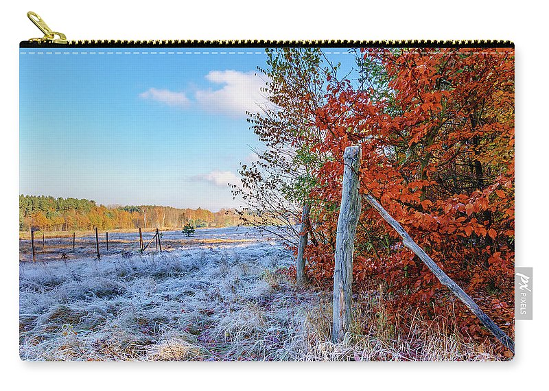 Yellow Carry-all Pouch featuring the photograph Fenced Autumn by Dmytro Korol