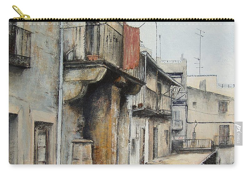 Fermoselle Zamora Spain Oil Painting City Scapes Urban Art Carry-all Pouch featuring the painting Fermoselle by Tomas Castano