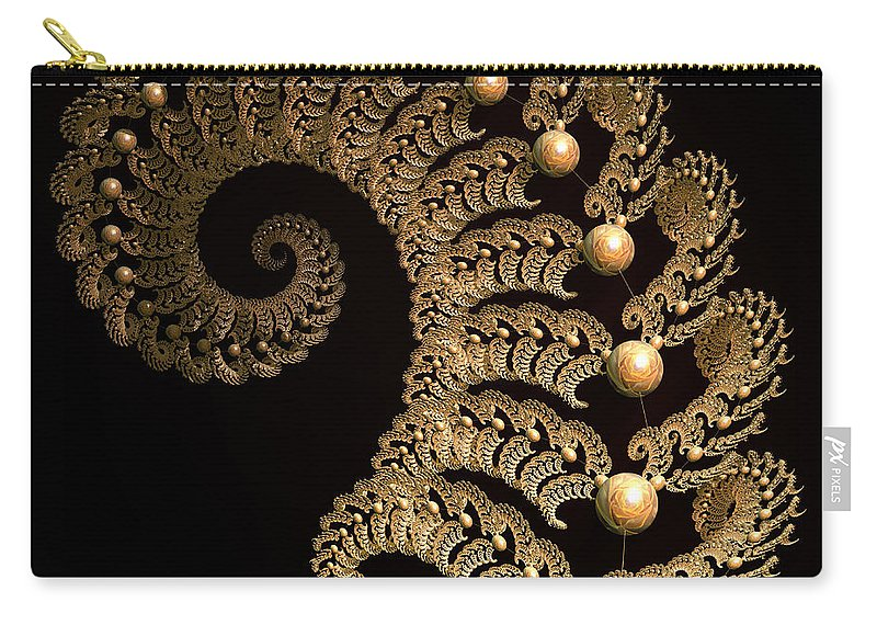 Incendia Carry-all Pouch featuring the digital art Fern-spiral-fern by Deborah Benoit
