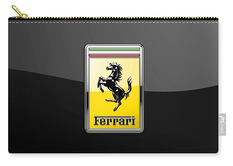 �auto Badges� Collection By Serge Averbukh Carry-all Pouch featuring the photograph Ferrari 3D Badge- Hood Ornament on Black by Serge Averbukh