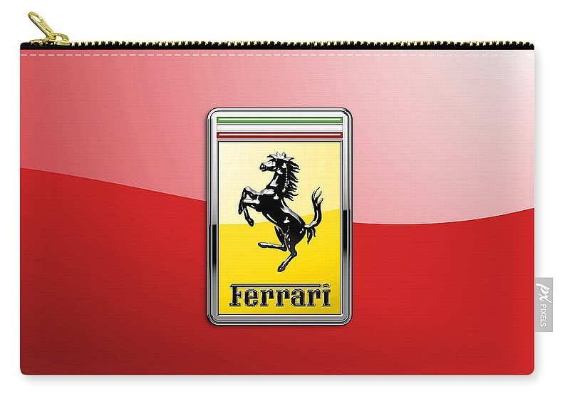 �auto Badges� Collection By Serge Averbukh Carry-all Pouch featuring the photograph Ferrari 3D Badge-Hood Ornament on Red by Serge Averbukh