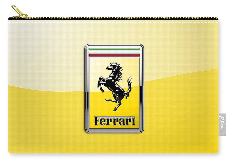 �auto Badges� Collection By Serge Averbukh Carry-all Pouch featuring the photograph Ferrari 3D Badge- Hood Ornament on Yellow by Serge Averbukh