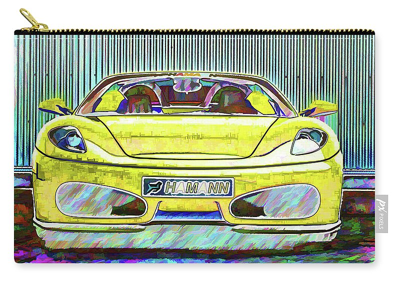 Ferrari Carry-all Pouch featuring the painting Ferrari 5 by Jeelan Clark