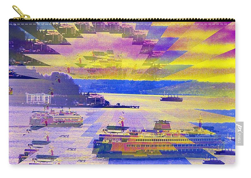 Seattle Carry-all Pouch featuring the photograph Ferries Off Alki by Tim Allen