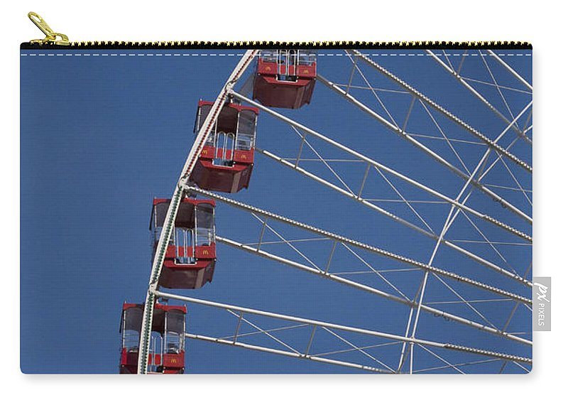 Chicago Navy Pier Windy City Ferris Wheel Attraction Blue Sky Red Tourist Tourism Travel Carry-all Pouch featuring the photograph Ferris Wheel II by Andrei Shliakhau