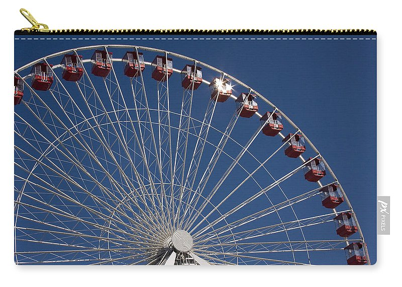 Chicago Ferris Wheel Navy Pier Windy City Attraction Tourist Tourism Travel Blue Sky Carry-all Pouch featuring the photograph Ferris Wheel IIi by Andrei Shliakhau