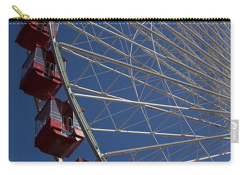 Chicago Windy City Ferris Wheel Navy Pier Attraction Tourism Round Tourist Travel Blue Sky Park Carry-all Pouch featuring the photograph Ferris Wheel Iv by Andrei Shliakhau