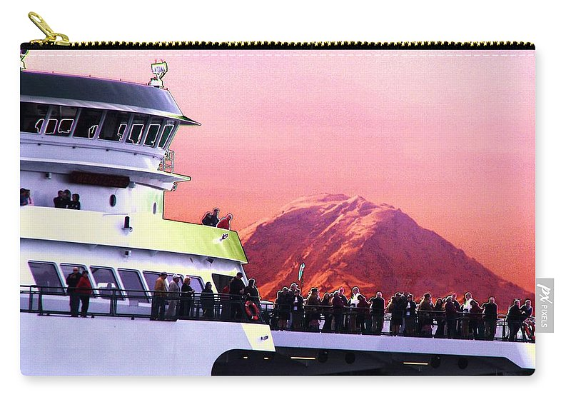 Seattle Carry-all Pouch featuring the digital art Ferry And Da Mountain by Tim Allen