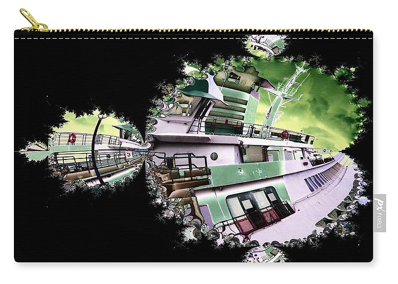 Seattle Carry-all Pouch featuring the digital art Ferry In Fractal by Tim Allen