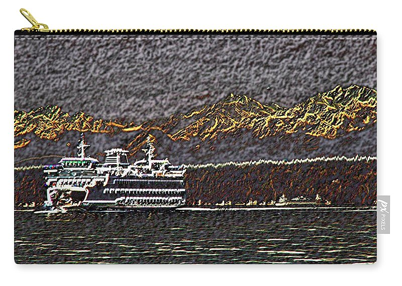 Ferry Carry-all Pouch featuring the digital art Ferry On Elliott Bay 3 by Tim Allen