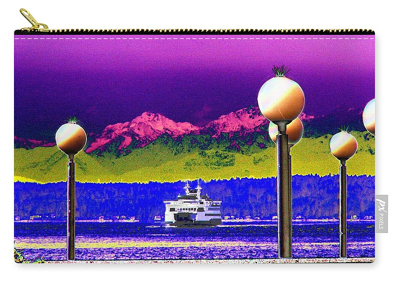 Seattle Carry-all Pouch featuring the digital art Ferry On Elliott Bay by Tim Allen
