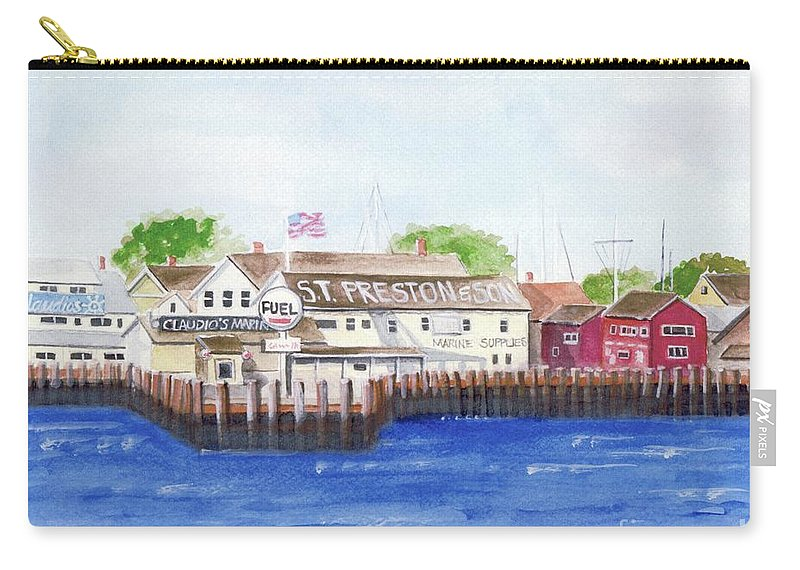 Greenport Long Island Carry-all Pouch featuring the painting Ferry To Greenport by Sheryl Heatherly Hawkins