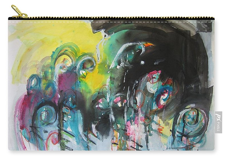 Fiddleheads Painting Carry-all Pouch featuring the painting Fiddleheads 105- Original Abstract Colorful Landscape Painting For Sale Red Blue Green by Seon-Jeong Kim