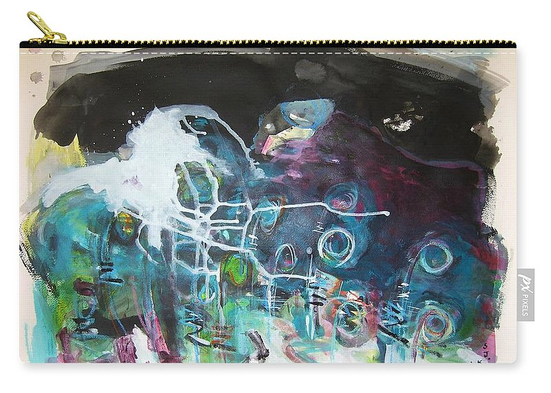 Fiddleheads Paintings Carry-all Pouch featuring the painting Fiddleheads 300 by Seon-Jeong Kim