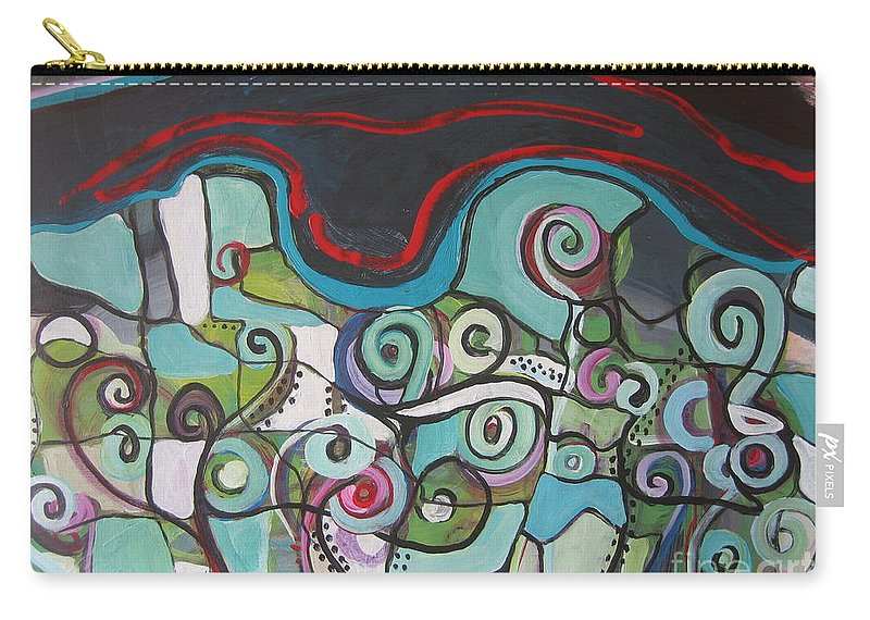 Fiddleheads Paintings Carry-all Pouch featuring the painting Fiddleheads 5 by Seon-Jeong Kim