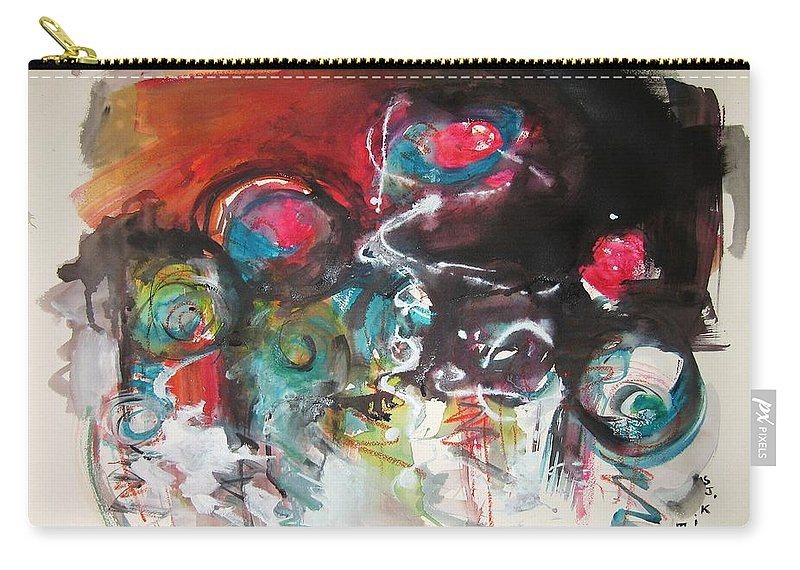 Fiddleheads Paintings Carry-all Pouch featuring the painting Fiddleheads- Landscape Painting For Sale Red Blue Green by Seon-Jeong Kim