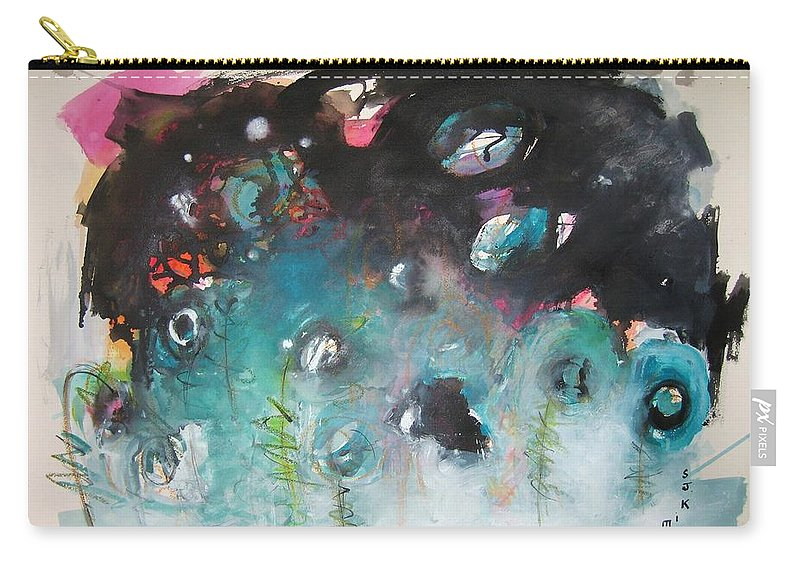 Fiddleheads Paintings Carry-all Pouch featuring the painting Fiddleheads- Original Abstract Colorful Landscape Painting For Sale Red Blue Green by Seon-Jeong Kim
