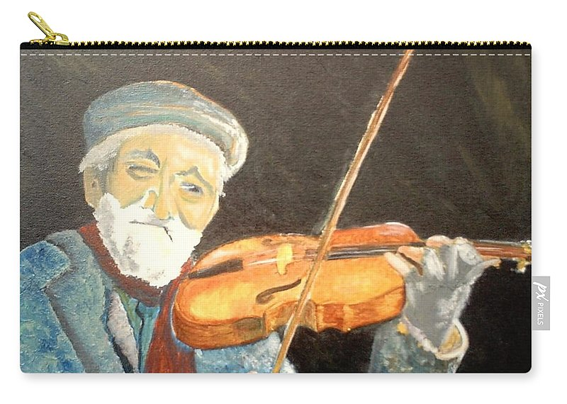Hungry He Plays For His Supper Carry-all Pouch featuring the painting Fiddler Blue by J Bauer