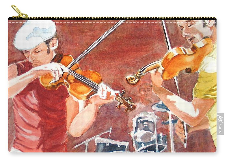 Musicians Carry-all Pouch featuring the painting Fiddles by Karen Ilari