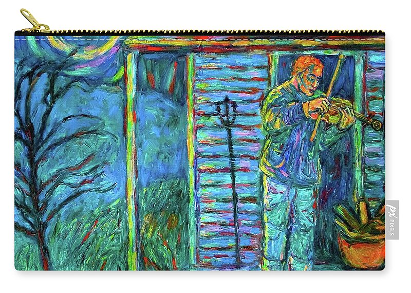Fiddler Carry-all Pouch featuring the painting Fiddling at Midnight's Farm House by Kendall Kessler