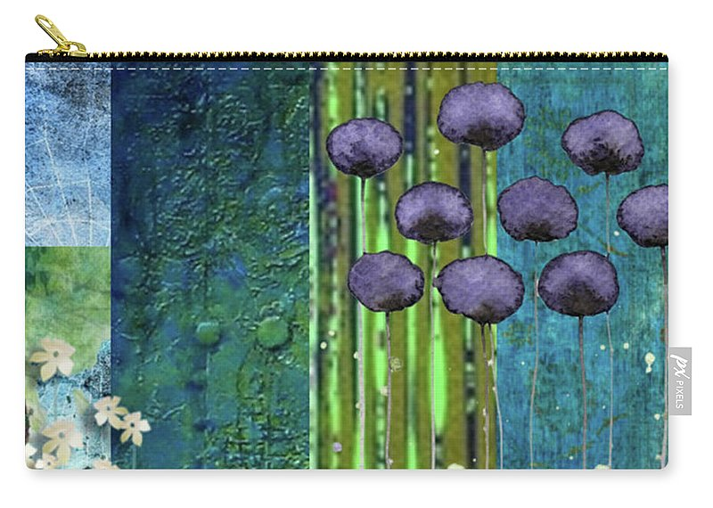 Blue Carry-all Pouch featuring the digital art Field Flowers by Jean Savoie