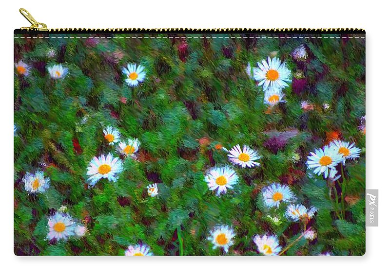 Digital Photograph Carry-all Pouch featuring the photograph Field Of Daisys by David Lane