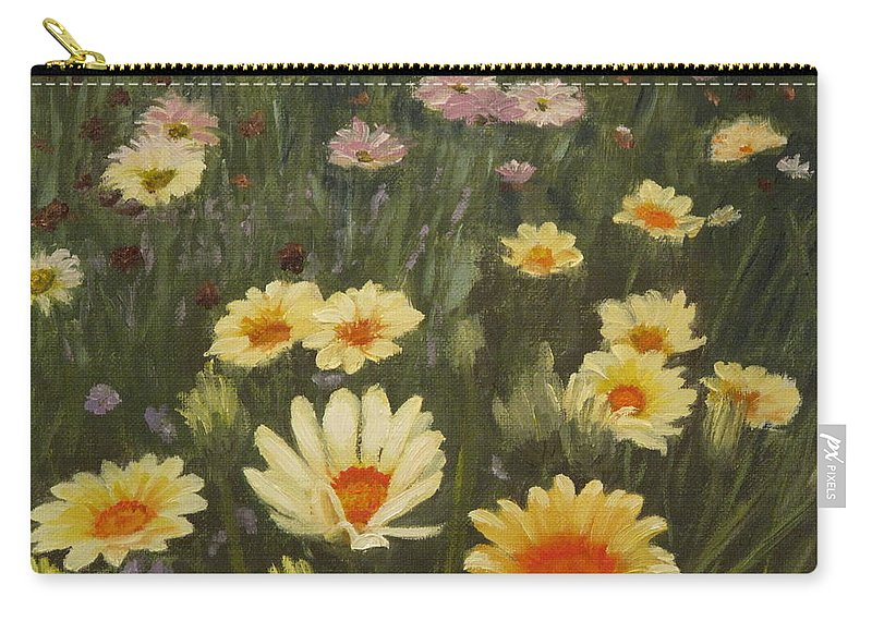 Flower Carry-all Pouch featuring the painting Field Of Flowers by Lea Novak