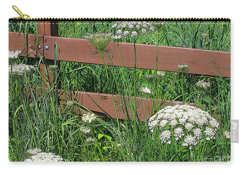 Flower Carry-all Pouch featuring the photograph Field Of Lace by Ann Horn
